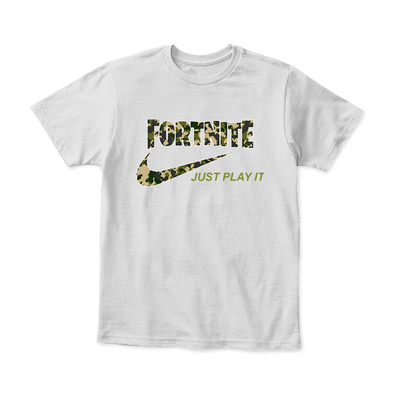 652f48e6f0d Fortnite Battle Royale Just Play It Camouflage Style Youth Shirt-District  Youth Shirt-White