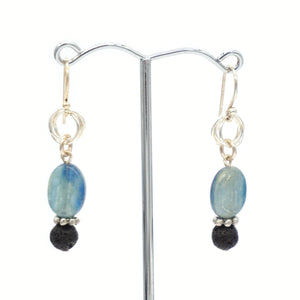 Green Blue Kyanite & Lava Silver Earrings