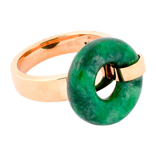Green Jade Donut Ring in Rose Gold