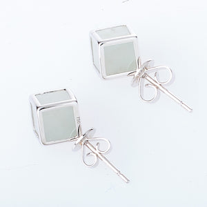 Ice Cube Jade Earrings in White Gold