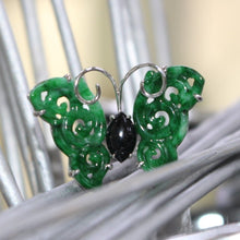 Load image into Gallery viewer, Green and Black Jade Butterfly Ring in White Gold