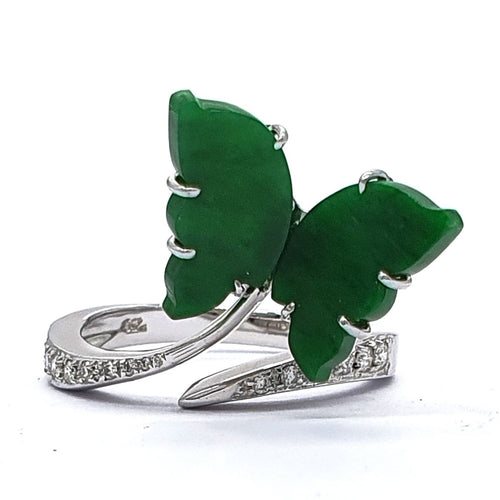 Green Jade and Diamond Butterfly Ring in White Gold