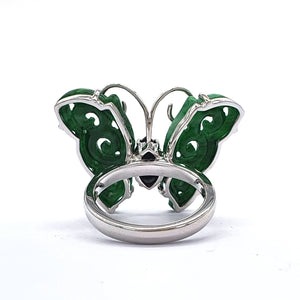 Green and Black Jade Butterfly Ring in White Gold