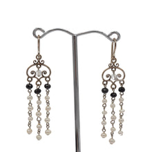 Load image into Gallery viewer, Freshwater Pearl, Spinel, Silver Chandalier Earrings