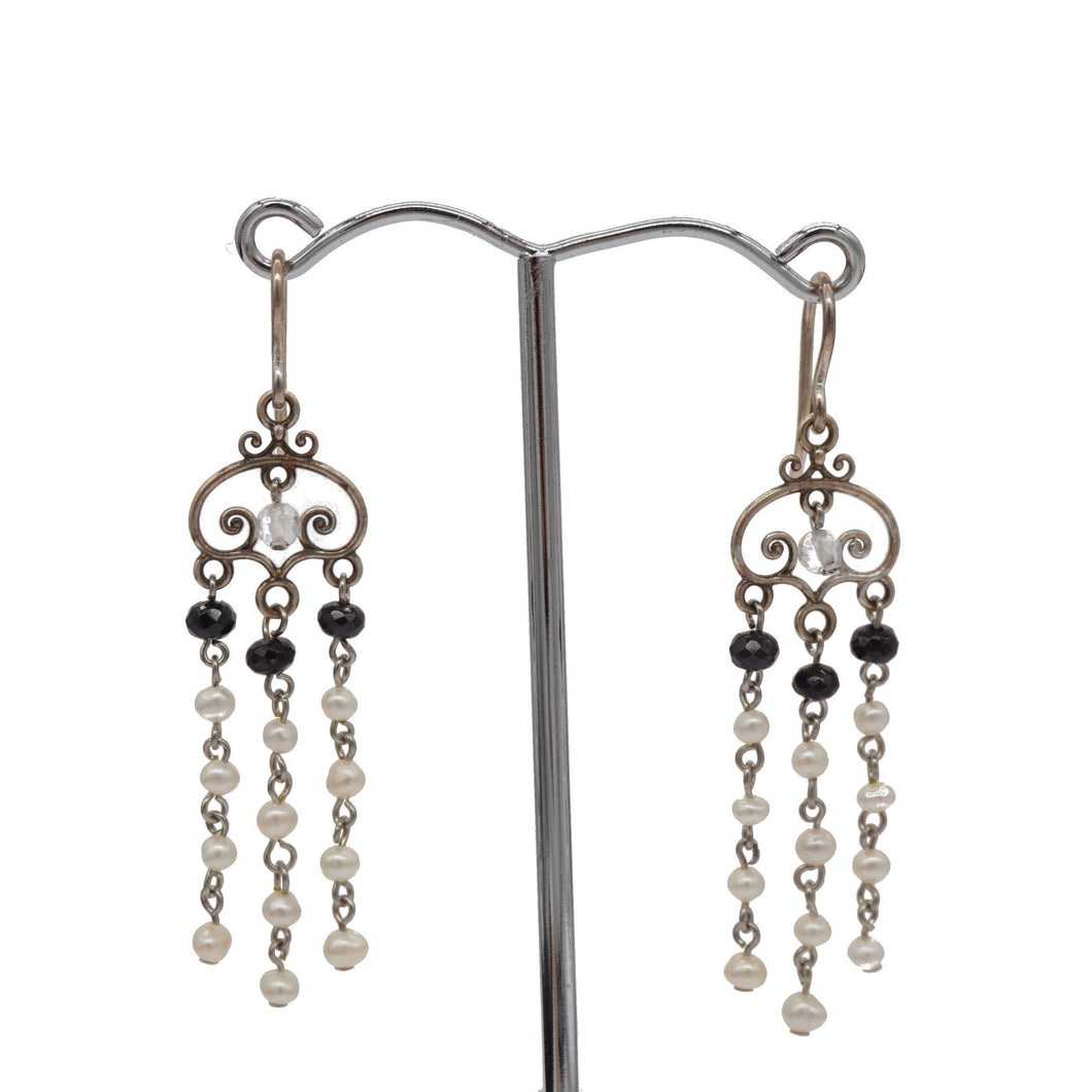 Freshwater Pearl, Spinel, Silver Chandalier Earrings