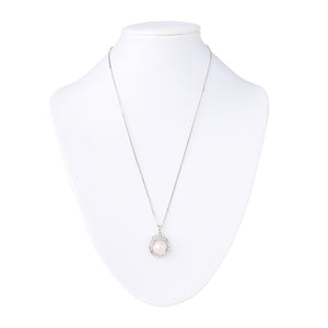 Akoya Pearl and CZ Necklace in Silver