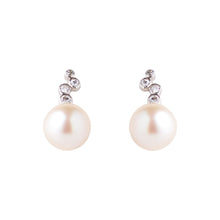 Load image into Gallery viewer, Akoya Pearl and CZ earrings in Silver