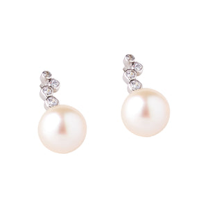 Akoya Pearl and CZ earrings in Silver