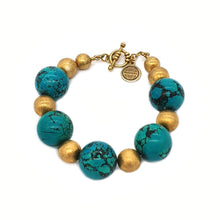 Load image into Gallery viewer, Gold and Turquoise Chunky Bracelet