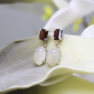 Moonstone & Garnet Earrings, Sterling Silver