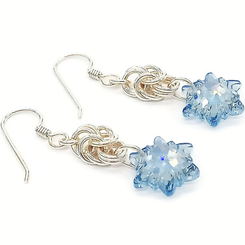 Edelweiss Byzantine Earrings (blue shade)