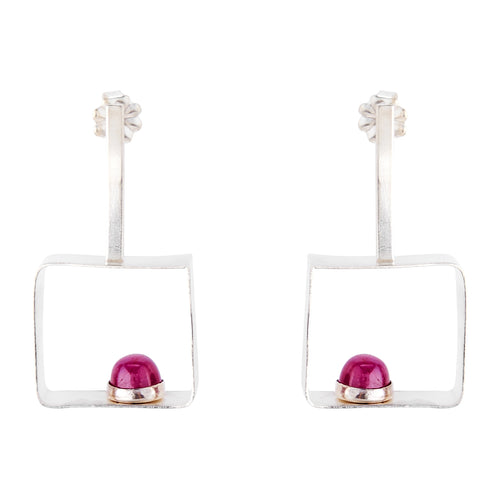 Geometric Ruby earrings bezel set on 925 silver