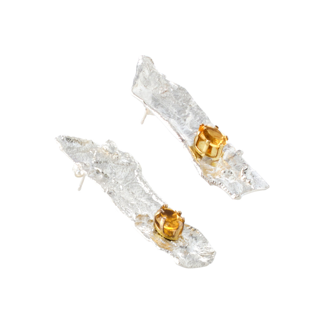 Textured Silver Citrine Earrings