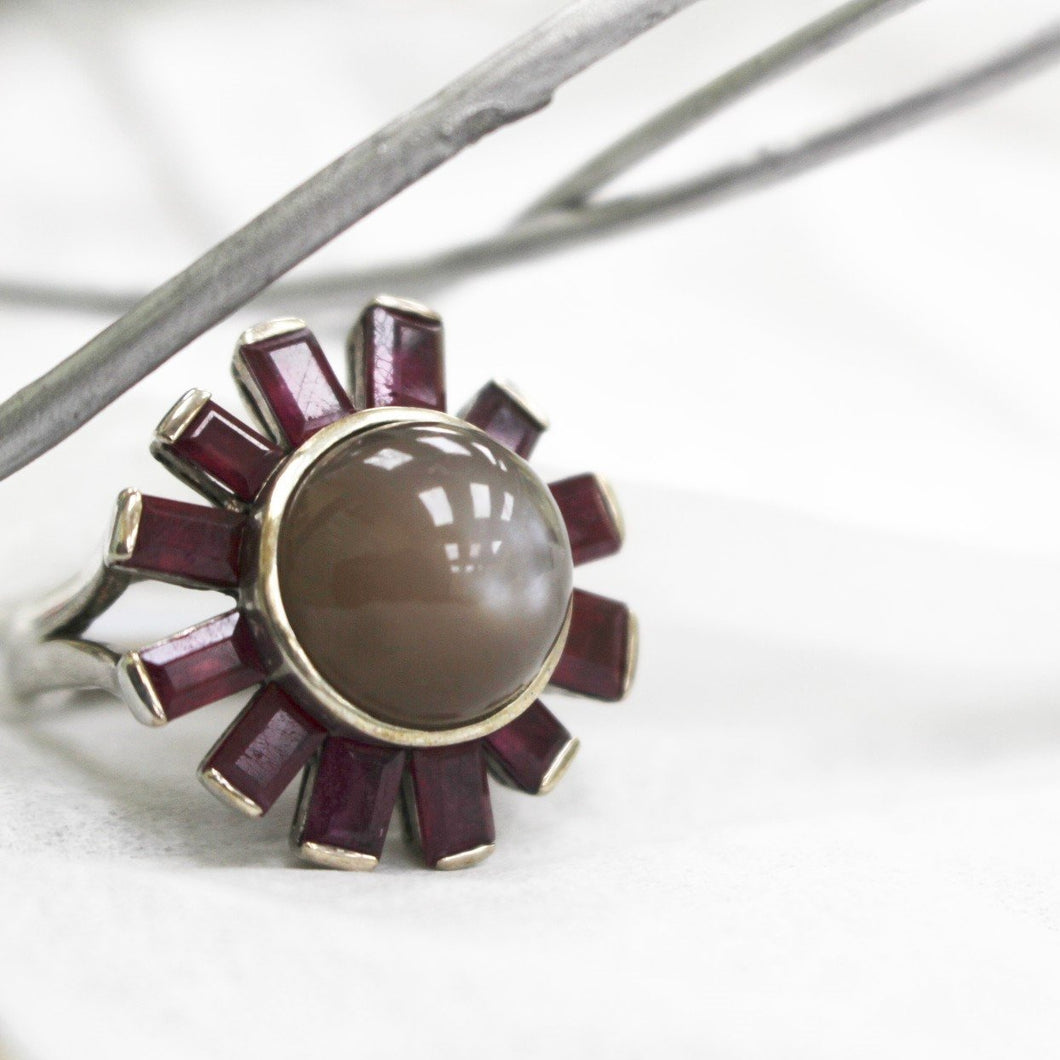 Chocolate Moonstone with Rubies Statement Ring
