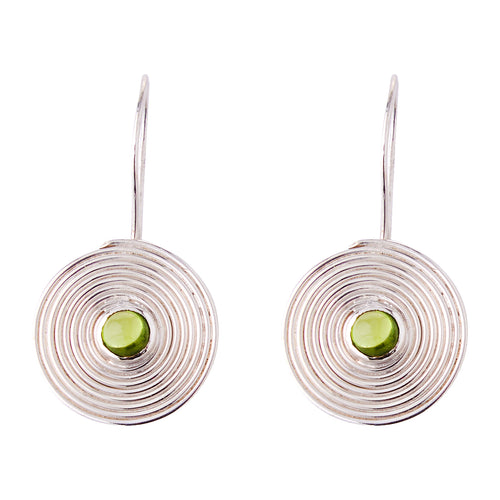 'Pansodan' Peridot Drop Earrings