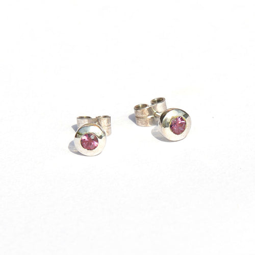 Round Pink Spinel Earrings