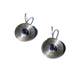 'Pansodan' Blue Sapphire Drop Earrings