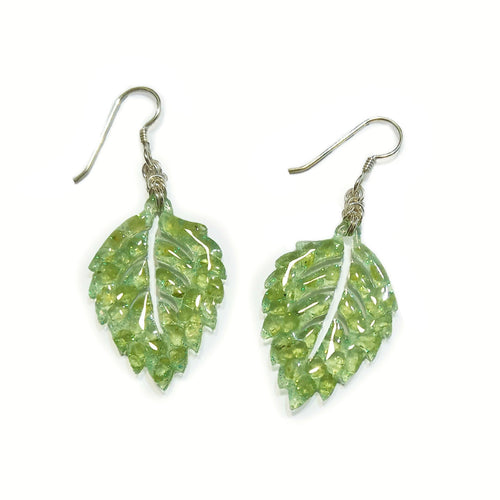 Peridot Sparkle Leaf Earrings
