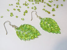 Load image into Gallery viewer, Peridot Sparkle Leaf Earrings