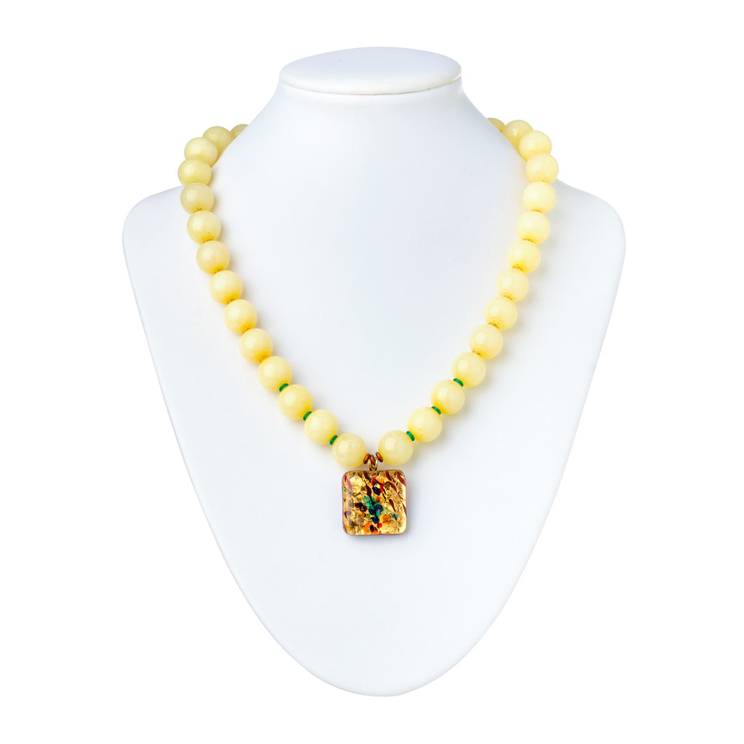 Mellow in Yellow, Murano Glass and Jasper Bead Necklace