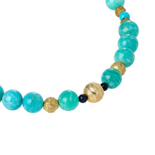 Load image into Gallery viewer, Green Amazonite and Gold Glass Necklace