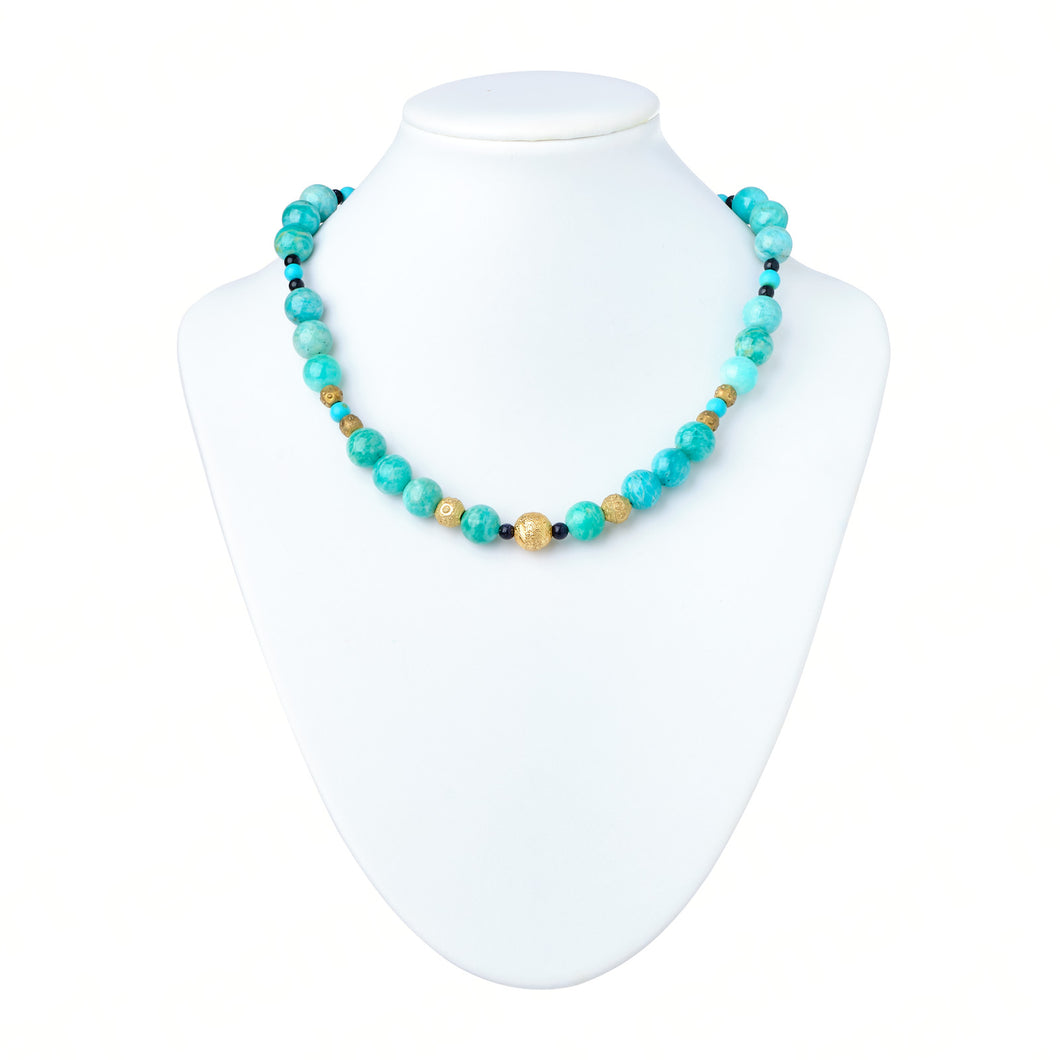 Green Amazonite and Gold Glass Necklace