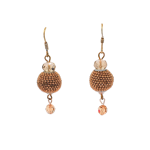 Gold Beads & Swaroski Crystal Earrings