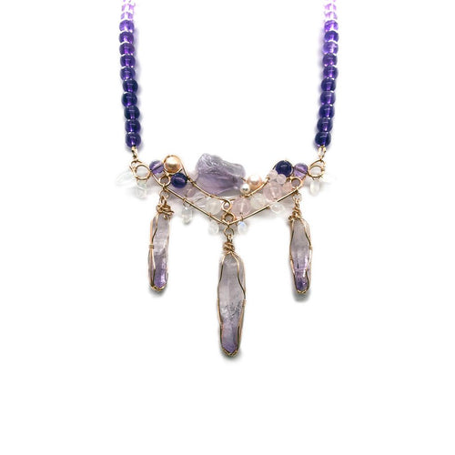 amethyst, rosegold filled, statement necklace