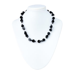 Onyx Interlock with Crystal Necklace