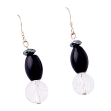 Load image into Gallery viewer, Cracked Crystal, Onyx, Hematite and Agate Earrings
