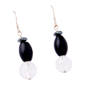 Cracked Crystal, Onyx, Hematite and Agate Earrings
