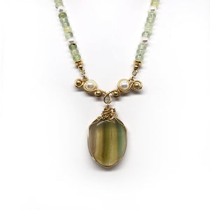 Prehnite, fluorite, pearls, necklace