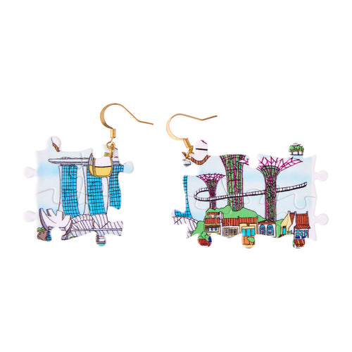 Singapore Puzzle Earrings