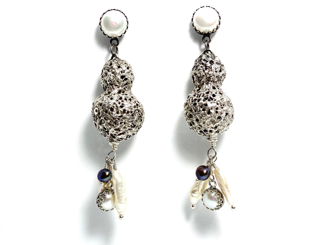 Silver Drop Earrings with Pearls