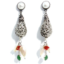 Load image into Gallery viewer, Silver Drop Earrings with Pearls, Coral and Chrysoprase Cabs (Oxidised)