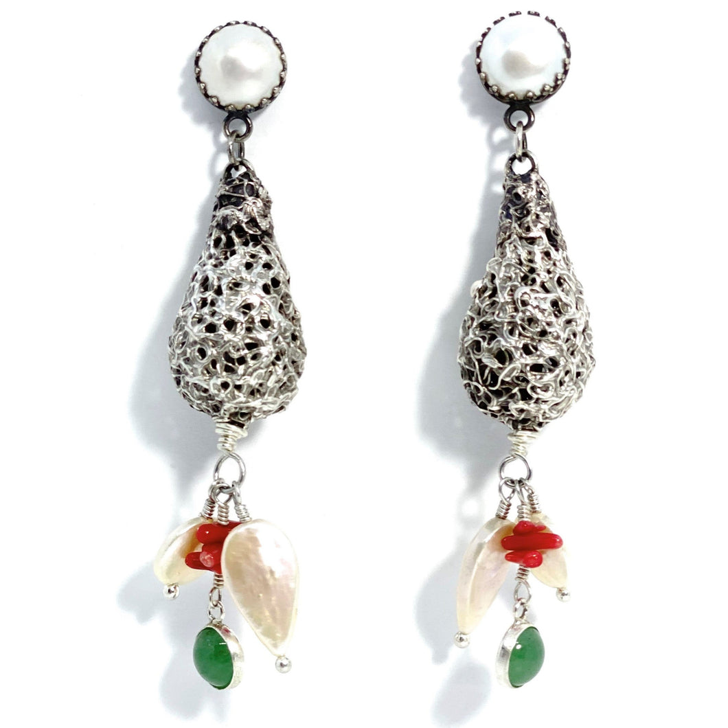 Silver Drop Earrings with Pearls, Coral and Chrysoprase Cabs (Oxidised)