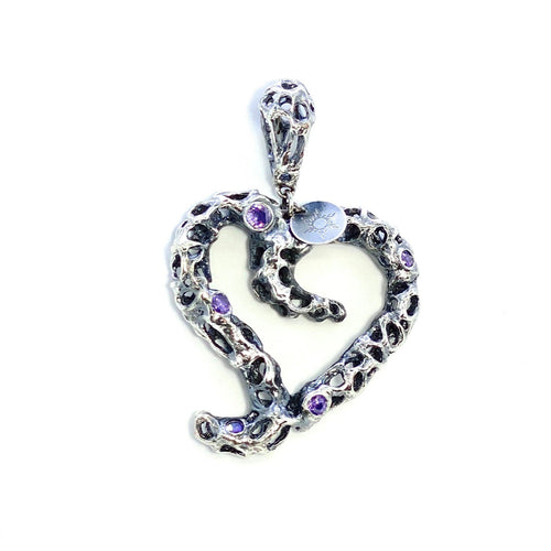 Heart Pendant with violet Lab-Grown Stones (oxidised)