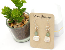 Load image into Gallery viewer, Pearl & Green Kyanite Silver Earrings