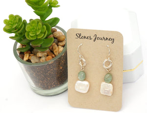 Pearl & Green Kyanite Silver Earrings