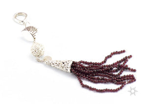 """FLAPPER - TASSEL"" (Sterling Silver and Fine Silver with Garnet Beads)"
