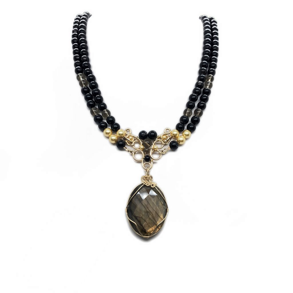 Hyperstene, labradorite, goldfilled
