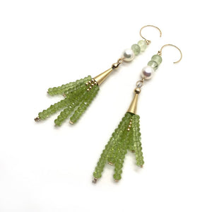 Peridot, akoya pearl, earrings
