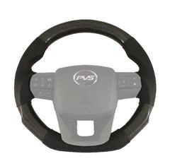 ELITE FLAT BOTTOM CARBON BLACK PERFORATED LEATHER STEERING WHEEL TO SUIT TOYOTA N80 HILUX 2015+