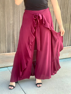 Burgundy Flowy Cropped Pants