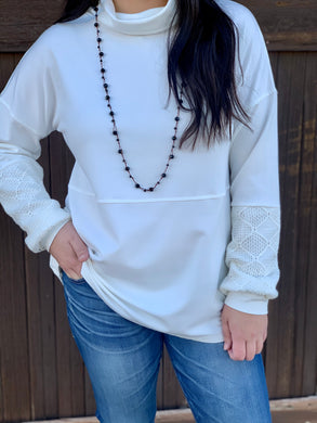 White Lace Sleeve Pullover