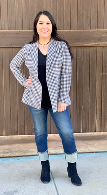 Gingham Double Button Blazer
