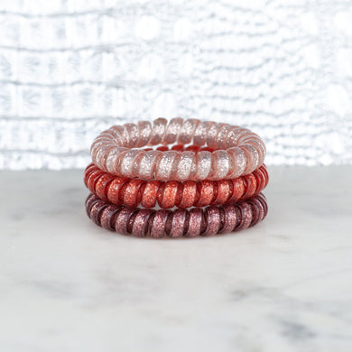 Hotline Hair Ties- Dusty Rose Glitter