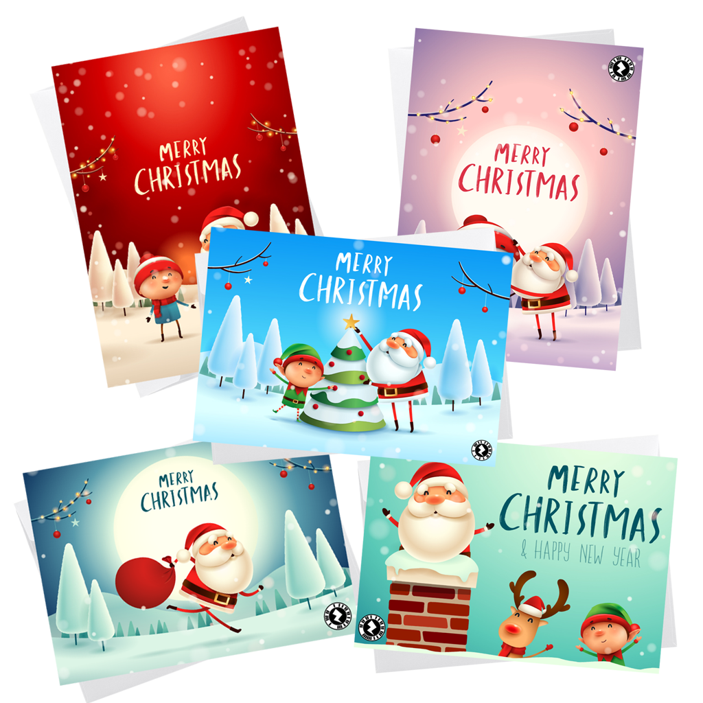 Pack of 5 Santa Christmas Cards
