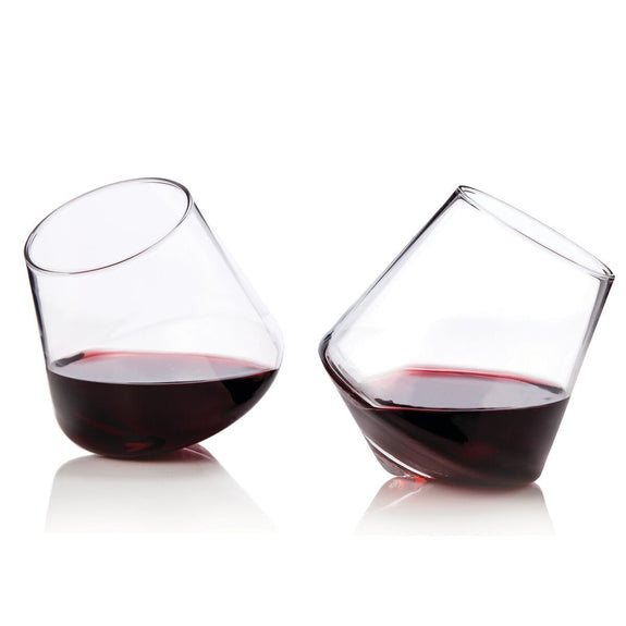 RAYE: CRYSTAL ROLLING WINE TUMBLERS - SET OF 2 BY VISKI | CHROMA STUDIO