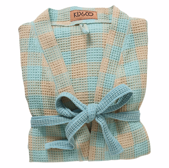 Ice Blue Tartan Waffle Bath Robe By Kip&Co | Chroma Studio
